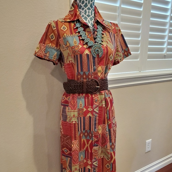 Vintage Dresses & Skirts - FINAL❣Vintage 80's Southwest Print Dress